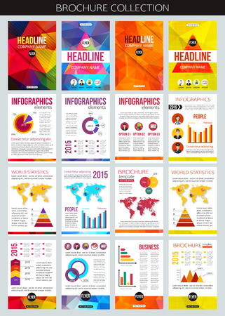 leaflet design: Set of corporate business stationery brochure templates. Flat style design for flyer, report, placard or business document. Infographic presentation templates for advertisements, mobile technologies and online services. Vector illustration.
