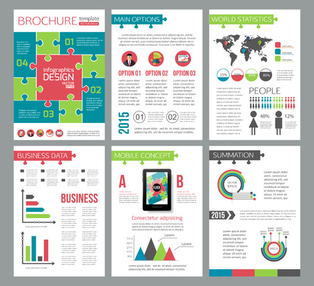 advertisements: Set of corporate business stationery brochure templates. Puzzle flat style design for flyer, report, placard or business document. Infographic presentation templates for advertisements, mobile technologies and online services. Vector illustration.