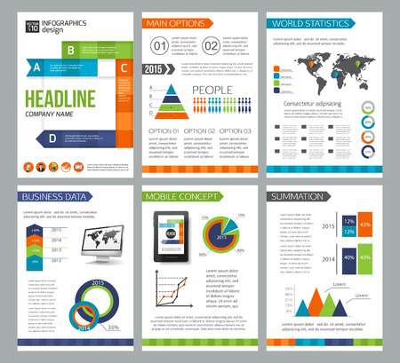 advertisements: Set of corporate business stationery brochure templates. Flat style design for flyer, report, placard or business document. Infographic presentation templates for advertisements, mobile technologies and online services. Vector illustration.