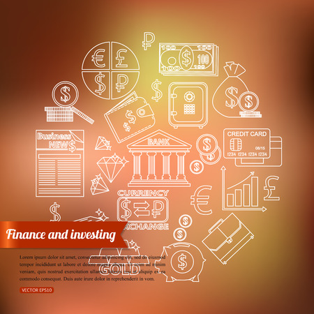 converter: Finance and investing outline icons set over blurred background with place for text. Vector illustration. Illustration