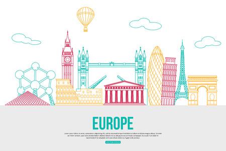 ヨーロッパ旅行背景テキスト。孤立した欧州とシンボルを概説しました。スカイラインは、シルエットを詳しく説明します。ベクトルの図。