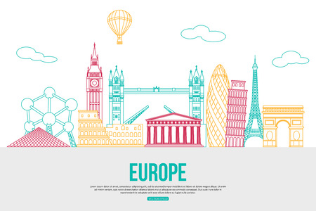sightseeings: Europe travel background with place for text. Isolated European outlined sightseeings and symbols. Skyline detailed silhouettes. Vector illustration. Illustration