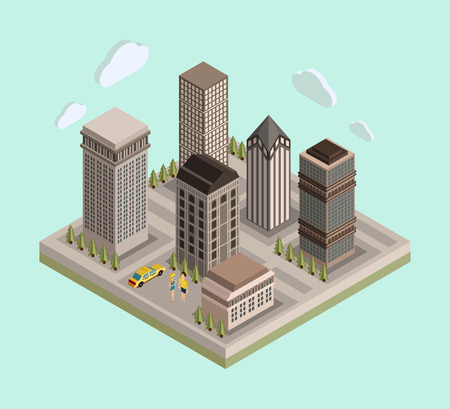 city center: Flat 3d isometric urban city center mapreal estate background with buildings, roads, car and people. Vector illustration. Illustration