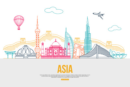 tourism: Asia travel background with place for text. Isolated Asian outlined sightseeings and symbols. Skyline detailed silhouettes. Vector illustration.