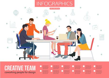 Infografía equipo creativo. Reunión de negocios y la gente de coworking para su diseño. Hablar y la gente que trabaja en la mesa en la oficina. Ilustración vectorial diseño plano con el lugar de texto.