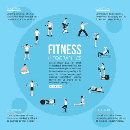 Training people icons set for sport and fitness infographics. Flat style design. Vector illustration. Imagens - 43149157