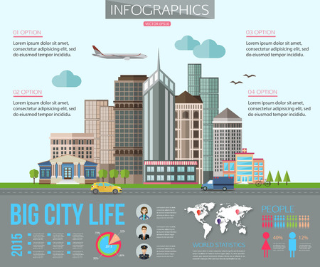 Big city life infographics with road, tall buildings, skyscrapers, car, bicycle, plane. Flat style design. Vector illustration with place for text. Иллюстрация