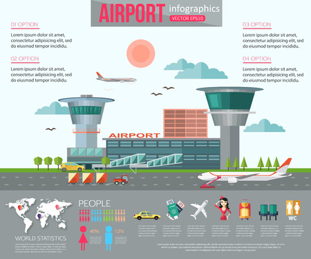 terminals: Airport infographics with place for text. Flat style design. Vector illustration.