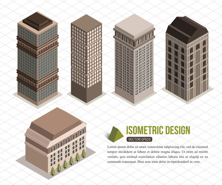 modern residential building: Set of isometric tall buildings for city building. Vector illustration. Illustration