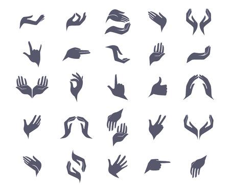 manos: Conjunto de manos abiertas vacías iconos planos con signos diferentes gestos. Ilustración del vector. Abra las manos vacías sostienen proteger dando gestos iconos conjunto ilustración vectorial aislado Vectores