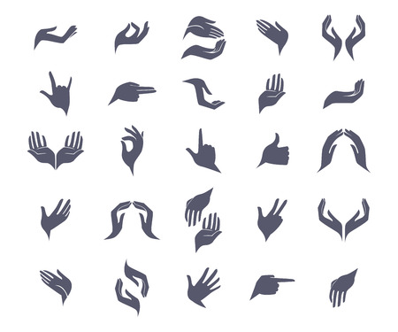 hand language: Set of open empty flat hands icons with different gestures signs. Vector illustration. Open empty hands holding protect giving gestures icons set isolated vector illustration