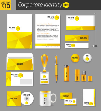 documentation: Corporate identity business photorealistic design template. Classic yellow stationery template design. Documentation for business. Vector illustration.