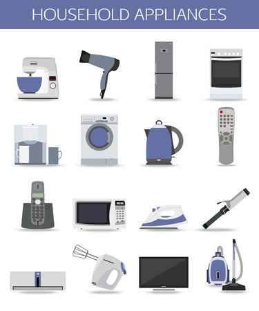 white goods: Set of household appliances and electronic devices isolated icons. Vector illustration. Illustration