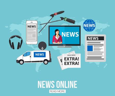 news online: News online flat design concept with place for text. Journalism icons set. Vector illustration.