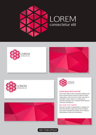 documentation: Geometric pink logo icon design with business cards, banners and  documentation for business. Vector illustration.