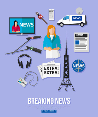 spokesperson: Breaking news flat design concept with place for text. Journalism icons set. Vector illustration.