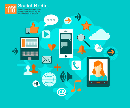 social system: Social media concept with place for text. Flat style design social media icons set. Vector illustration.