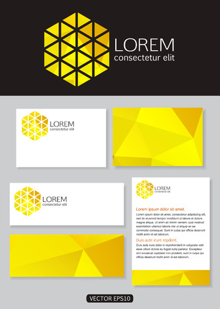 documentation: Geometric yellow logo icon design with business cards, banners and  documentation for business. Vector illustration.