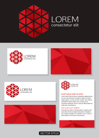 documentation: Geometric red logo icon design with business cards, banners and  documentation for business. Vector illustration.