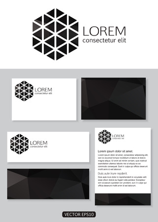 documentation: Geometric black logo icon design with business cards, banners and  documentation for business. Vector illustration. Illustration