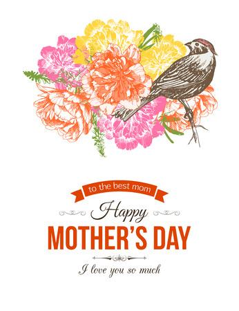 手で幸せな母の日誤植背景描き本文の花と場所。  イラスト・ベクター素材