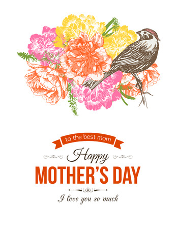 Happy Mothers Day Typographical Background With Hand Drawn Flowers and Place for Text.