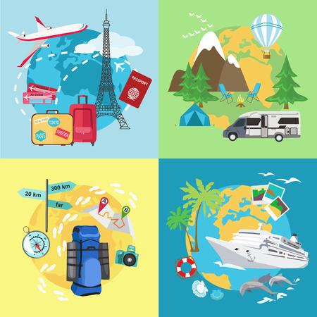 viaggi: Turismo Air. Caravaning e campeggio turistico. Turismo di montagna. Turismo acqua con la nave. Diversi tipi di viaggi. Disegno stile piatto. Illustrazione vettoriale.