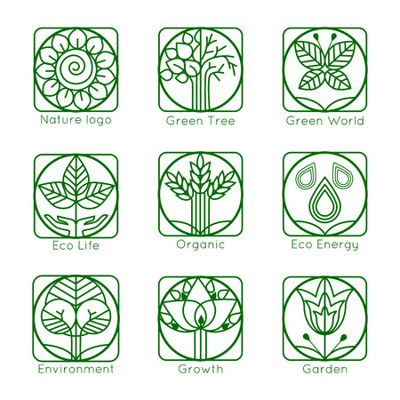 tree leaves: Set of outline tree monograms. Abstract organic, ecology and bio design elements and badges. Vector illustration. Illustration