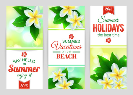 typographical: Summer shining typographical banners with tropical Plumeria flowers and blurred bokeh lights. Vector illustration.