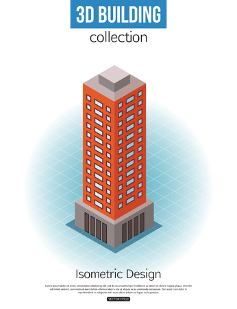 tall building: 3d isometric tall building icon for map building and city constucting. Real estate concept. Vector illustration.