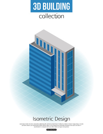 tall: 3d isometric tall building icon for map building and city constucting. Real estate concept. Vector illustration.