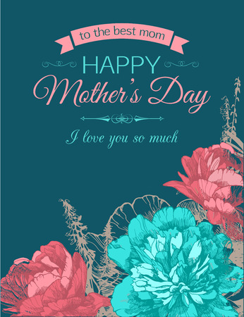 mother's: Happy Mothers Day Typographical Background With Hand Drawn Flowers and Place for Text.