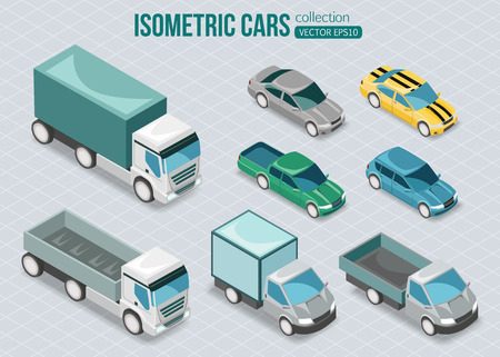 Set of isometric cars. Vector illustration.