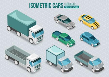 car: Set di automobili isometriche. Illustrazione vettoriale.