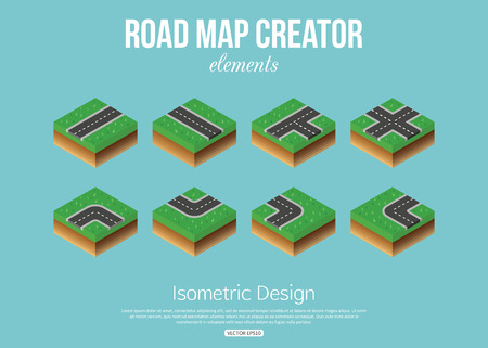 map toolkit: Isometric road creator elements for city building. Vector illustration. Illustration