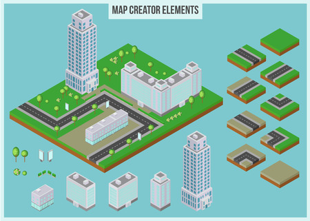 map toolkit: Isometric map creator elements for city building. 3d skyscrapers, buildings, trees and road elements. Vector illustration.