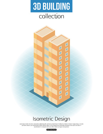 building estate: 3d isometric tall building icon for map building and city constucting. Real estate concept. Vector illustration.
