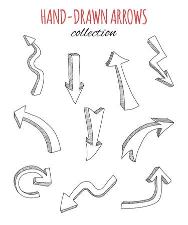 arrows circle: Hand drawn arrows collection. Vector illustration.