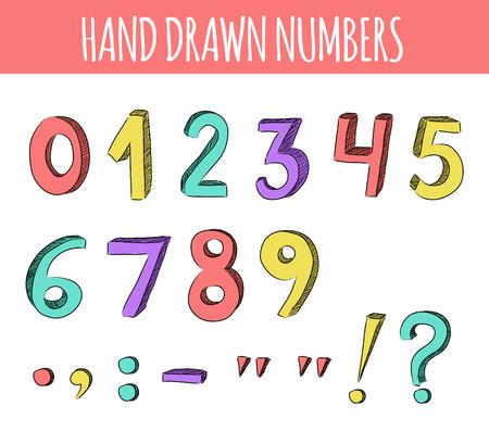 números: Dibujado a mano los n�meros de colores. Ilustraci�n del vector.