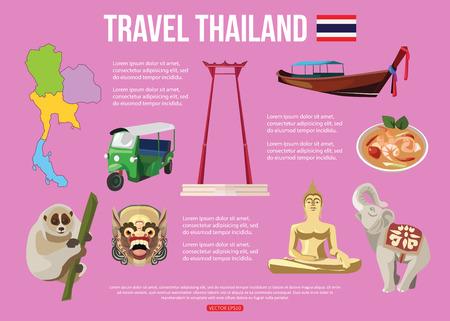 タイ旅行背景テキスト。カラフルなフラット アイコン、あなたの設計のためのタイのシンボルのセットです。ベクトルの図。