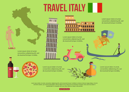 italy map: Italy travel background with place for text. Set of colorful flat icons, Italy symbols for your design. Vector illustration.