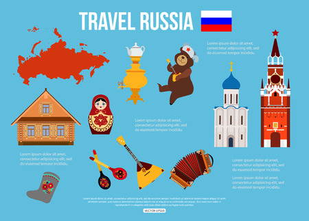 balalaika: Russia travel background with place for text. Set of colorful flat icons, Russian national symbols for your design. Vector illustration.