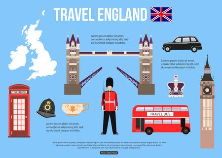 bus anglais: Angleterre fond Voyage avec place pour le texte. Ensemble d'ic�nes plats color�s, symboles Angleterre pour votre conception. Vector illustration.