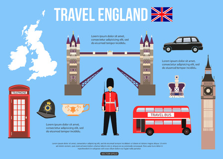 big ben tower: England travel background with place for text. Set of colorful flat icons, England symbols for your design. Vector illustration.