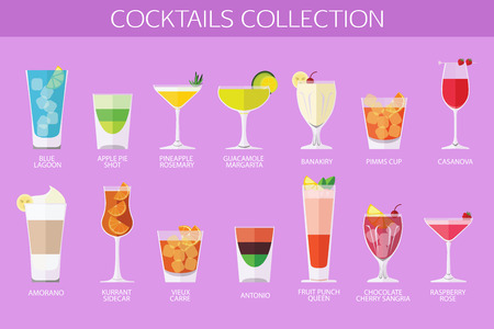 cocteles de frutas: Conjunto de c�cteles de alcohol iconos. Dise�o de estilo Flat. Ilustraci�n del vector.