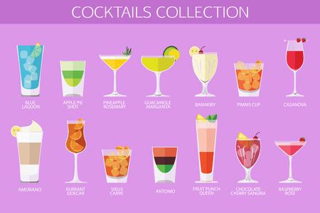 blue lagoon: Set di icone cocktail di alcol. Disegno di stile piatto. Illustrazione vettoriale.