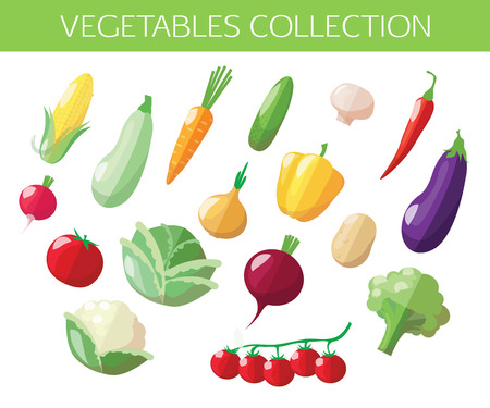organic peppers sign: Set of vegetables icons. Flat style design. Vector illustration.