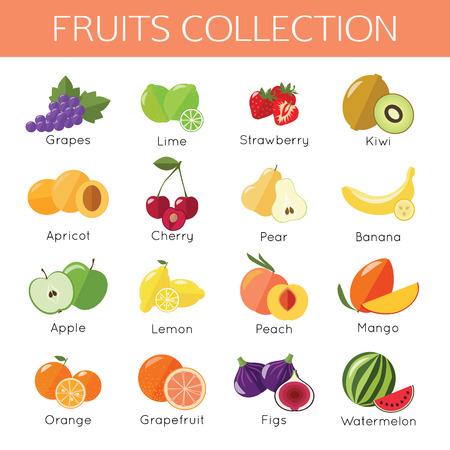 mango: Zestaw owoców ikon. Płaska styl. Ilustracji wektorowych.