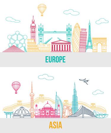 Set van Europa en Azië te reizen achtergrond met plaats voor tekst. Geïsoleerde Europese en Aziatische geschetst bezienswaardigheden en symbolen. Skyline gedetailleerde silhouetten. Vector illustratie.