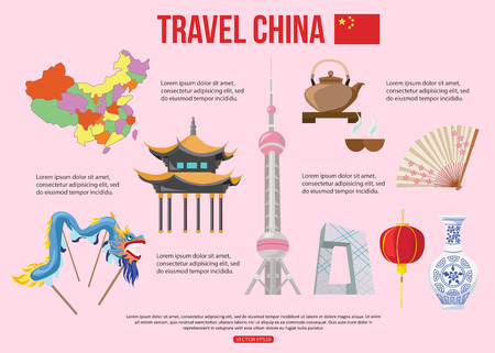 beijing: China travel background with place for text. Set of colorful flat icons, Chinese symbols for your design. Vector illustration.